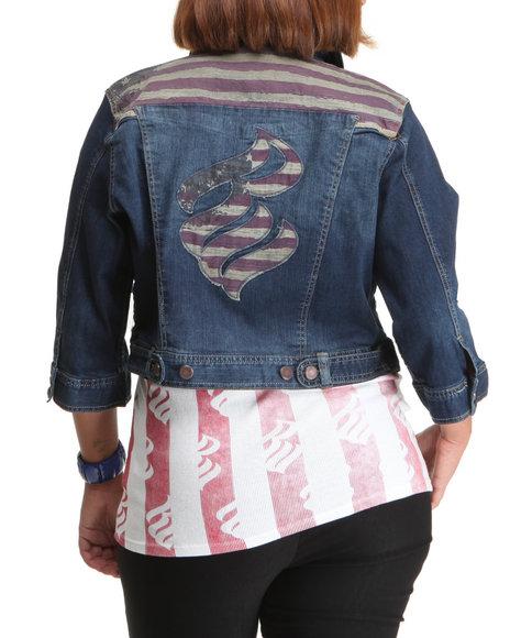 Rocawear Women Light Wash Americana Studded Croppped Denim Jacket (Plus Size)
