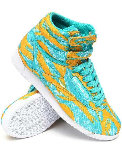 Reebok Women Teal,Yellow Freestyle Hi Intl Sneakers