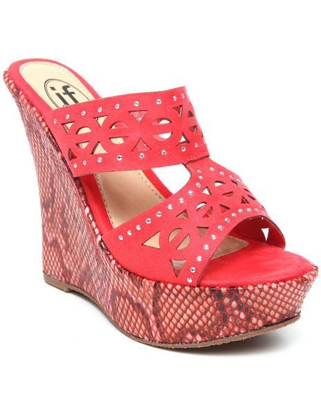 Fashion Lab - Women Animal Print,Pink Snake Wedge Laser Cut Out W/ Flower Detail