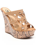 Fashion Lab - Snake Wedge w/ Studded Front