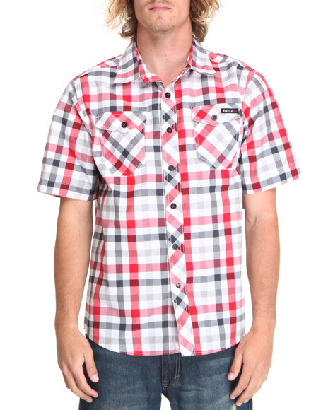 Enyce Men Grey,Red Surf S/S Button-Down