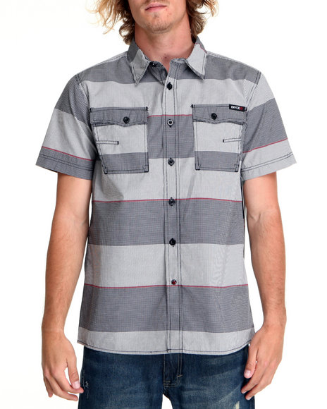 Enyce Men Grey,Light Grey Breaker S/S Button-Down
