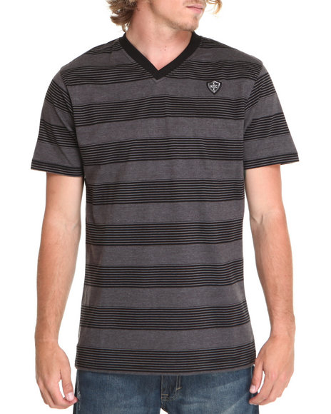 Enyce Men Charcoal,Black Canyon V-Neck T-Shirt