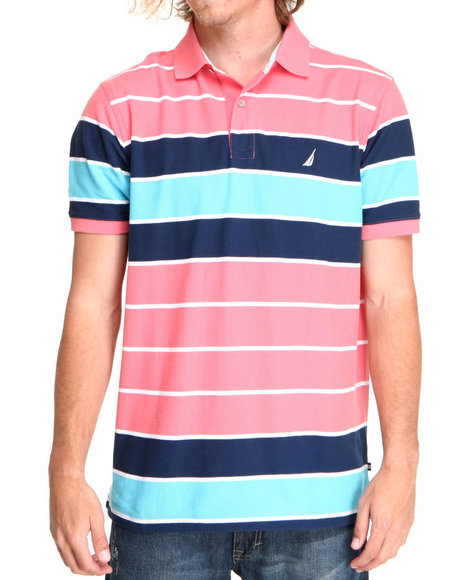 Nautica Pink Stripe Contract Polo