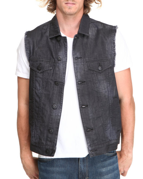 Ecko - Men Dark Wash American Flag Trucker Vest