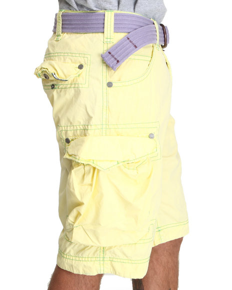 Basic Essentials Men Yellow Poplin Cargo Shorts