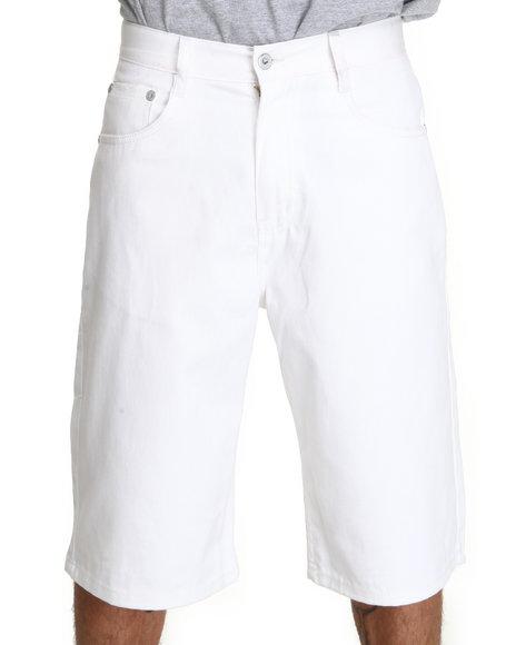 Akademiks Men White Steady Colour Twill Shorts