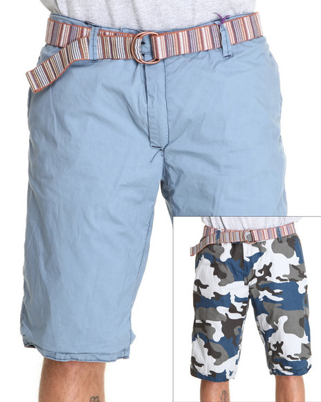 Jet Lag Men Blue Reversible Camo Cargo Shorts
