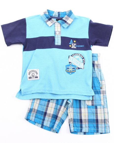 Akademiks Boys Navy 2 Pc Set - Polo & Plaid Shorts (2T-4T)