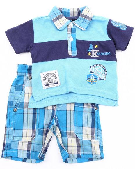 Akademiks Boys Navy 2 Pc Set - Polo & Plaid Shorts (Infant)