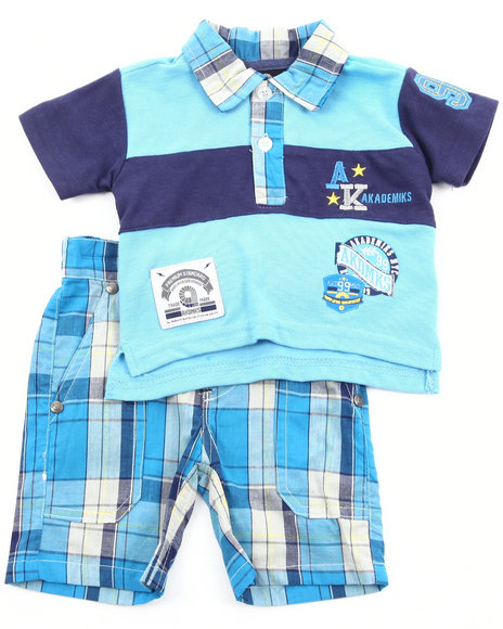 Akademiks Boys Navy 2 Pc Set - Polo & Plaid Shorts (Newborn)