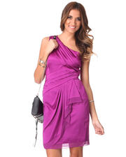 Women - 1 Shoulder Chiffon Ruffle Trim Satin Dress