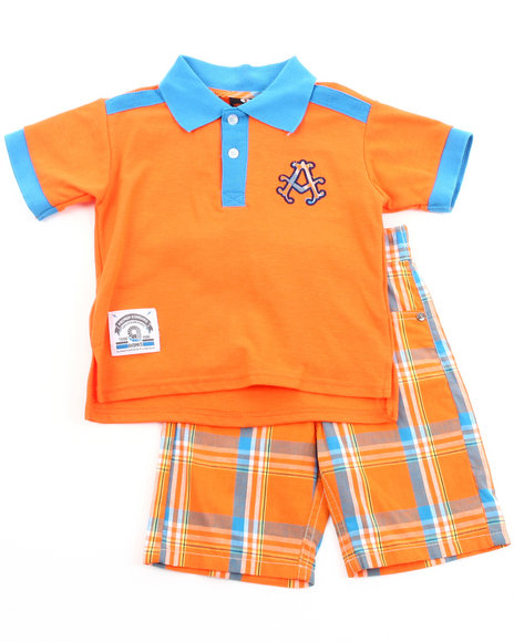 Akademiks Boys Orange 2 Pc Set - Polo & Plaid Shorts (2T-4T)