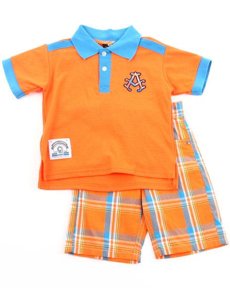 Akademiks Boys Orange 2 Pc Set - Polo & Plaid Shorts (2T-4T)