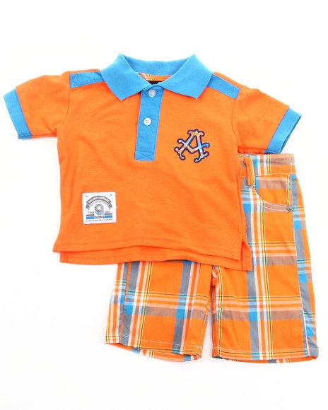 Akademiks - Boys Orange 2 Pc Set - Polo & Plaid Shorts (Infant)