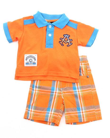 Akademiks Boys Orange 2 Pc Set - Polo & Plaid Shorts (Newborn)