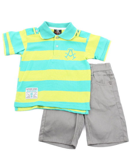 Akademiks - Boys Lime Green, Grey 2 Pc Set - Polo & Shorts (2T-4T)
