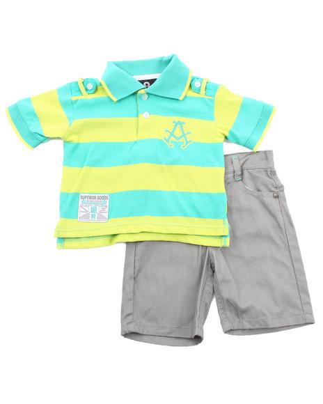 Akademiks - Boys Lime Green, Grey 2 Pc Set - Polo & Shorts (Infant)