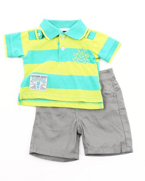 Akademiks Boys Lime Green,Grey 2 Pc Set - Polo & Shorts (Newborn)