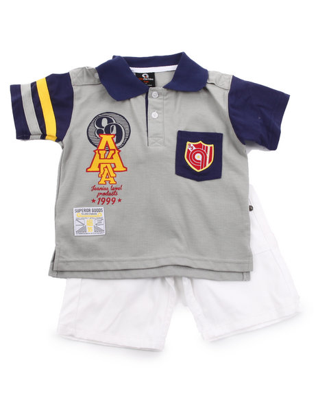 Akademiks - Boys Grey, Navy 2 Pc Set - Polo & Shorts (2T-4T)