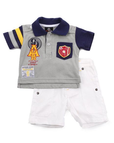 Akademiks - Boys Grey, Navy 2 Pc Set - Polo & Shorts (Infant)