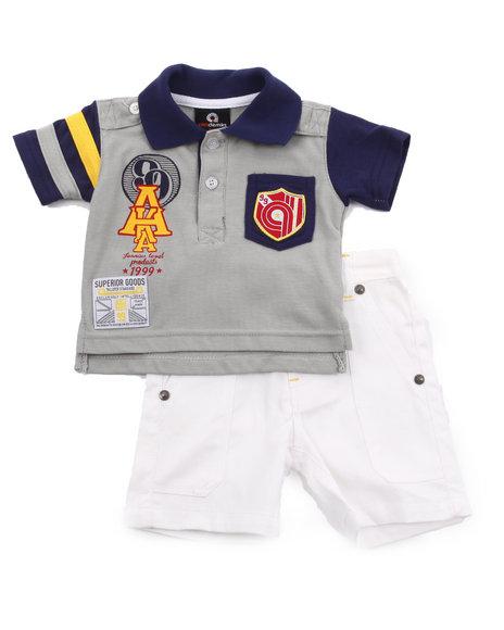 Akademiks Boys Navy 2 Pc Set - Polo & Shorts (Newborn)