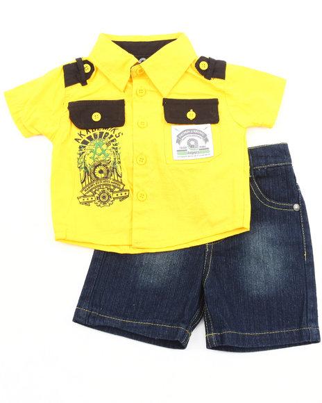 Akademiks Boys Yellow 2 Pc Set - Woven & Shorts (Infant)