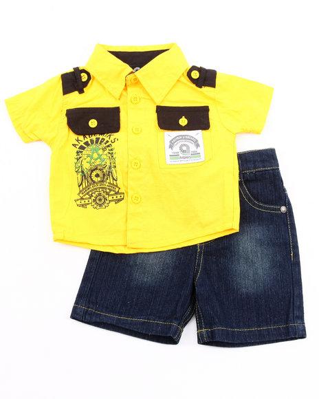 Akademiks Boys Yellow 2 Pc Set - Woven & Shorts (Newborn)