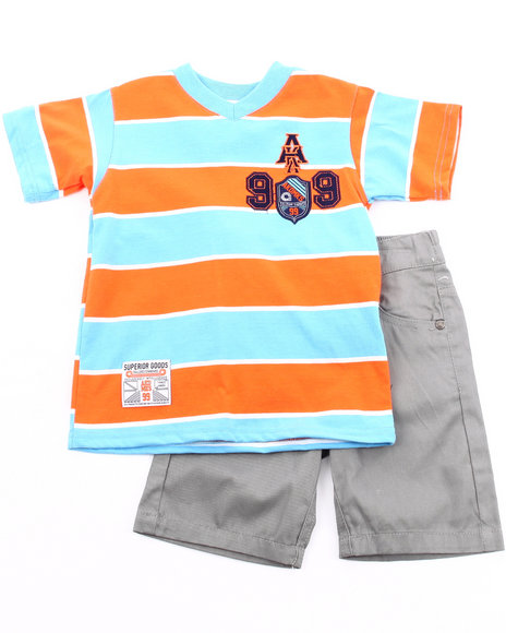 Akademiks - Boys Grey, Orange 2 Pc Set - V Neck Tee & Shorts (2T-4T)