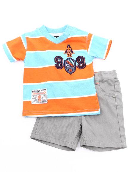 Akademiks Boys Grey,Orange 2 Pc Set - Polo & Shorts (Infant)