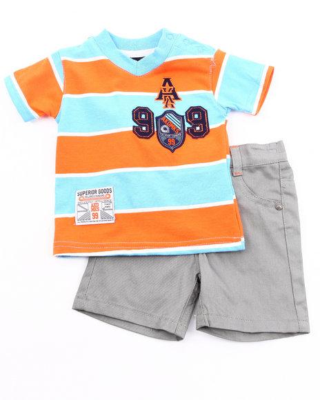 Akademiks Boys Grey,Orange 2 Pc Set - Polo & Shorts (Newborn)