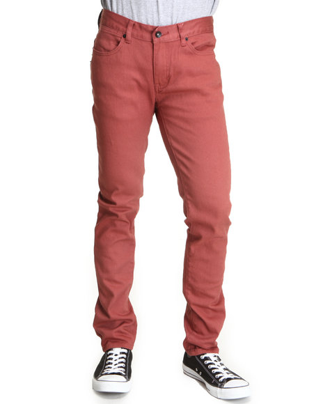 The Skate Shop Men Brown,Pink K Skinny Terracotta Denim Jeans