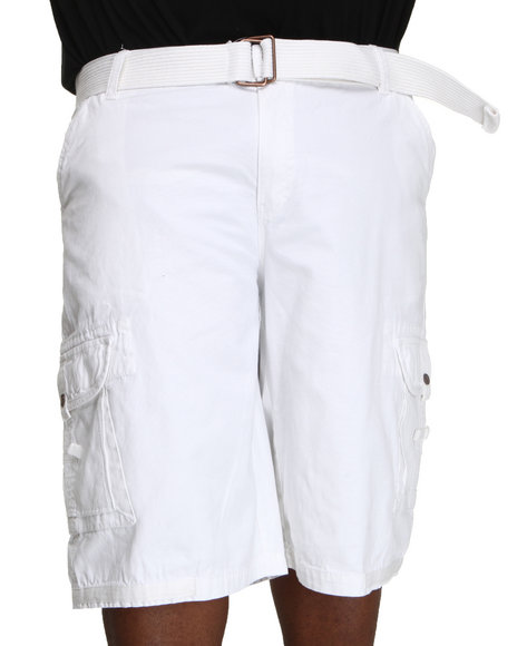 Akademiks Men White Frontier Oxford Belted Cargo Short (B&T)
