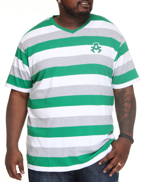 Akademiks Men Green Streamline Striped V-Neck Tee (B&T)