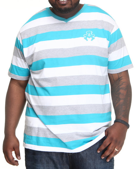 Akademiks Men Teal Streamline Striped V-Neck Tee (B&T)