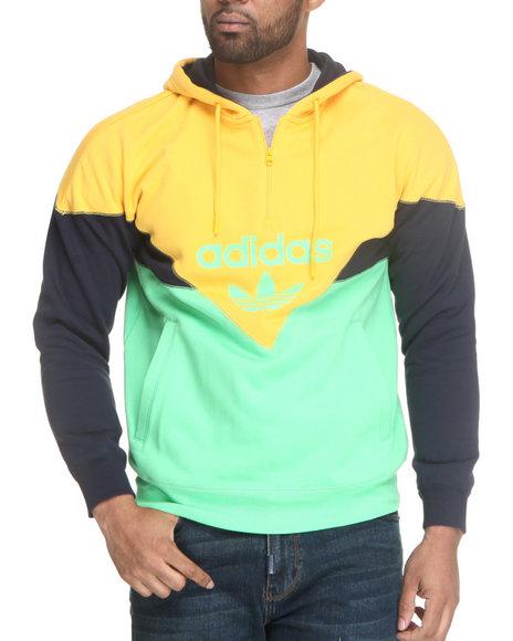 Adidas Men Green,Yellow Colorado Half Zip Hoodie