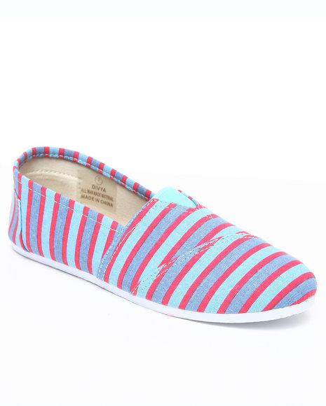Apple Bottoms Women Blue Divya Striped Casual Canvas Sneaker