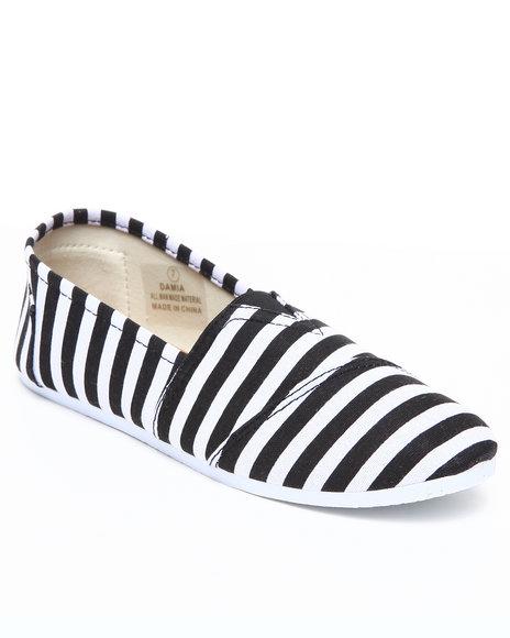Apple Bottoms Women Black,White Damia Stripe Canvas Sneaker