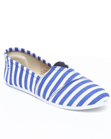 Apple Bottoms Women Blue,White Damia Stripe Canvas Sneaker
