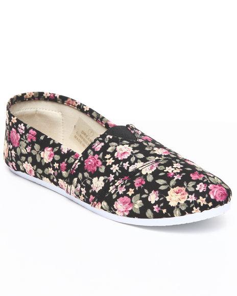 Apple Bottoms Women Black Dreama Floral Canvas Sneaker