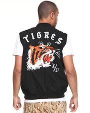 -FEATURES- - Tigres Sleeveless Embroidered Baseball Jacket