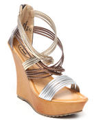 Women - metallic wooden wedge