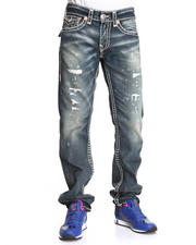 True Religion - Ricky Straight Leg Flap Back Pckt  Jeans- Granite Wash