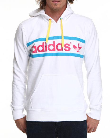 Adidas Men White Heritage Logo Pullover Hoodie
