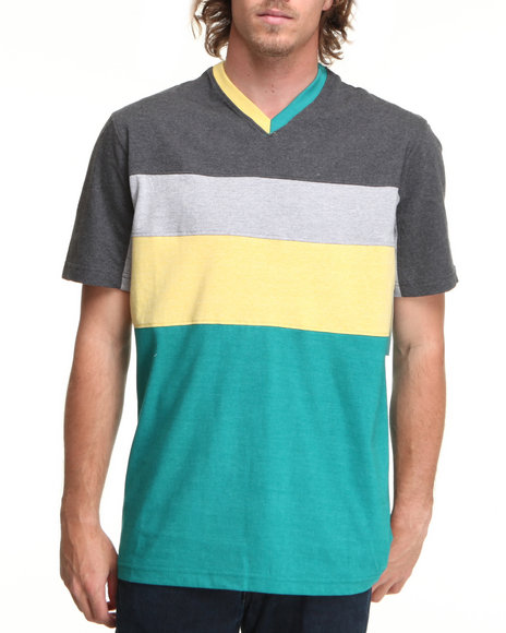 Rocawear Men Grey Marled Stripe S/S Tee