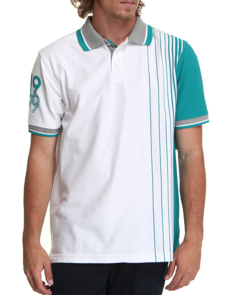 Rocawear Men Vertical Stripe Polo White 3X-Large