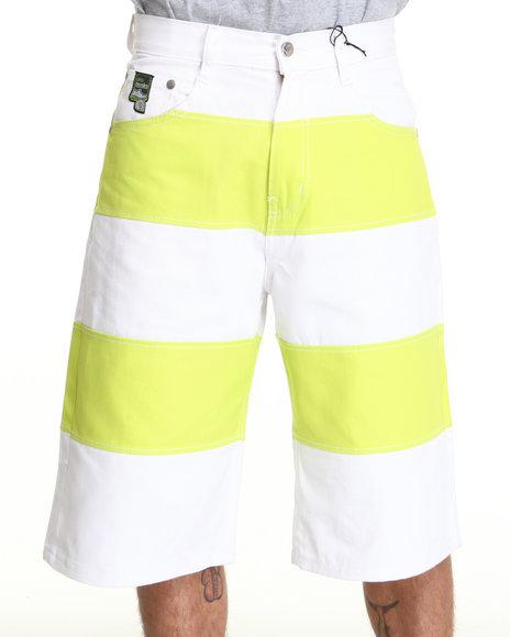 Akademiks Men Lime Green Cut & Sewn Twill Short