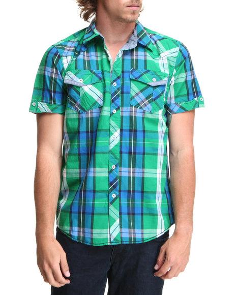 Company 81 Men Green Davin S/S Plaid Shirt