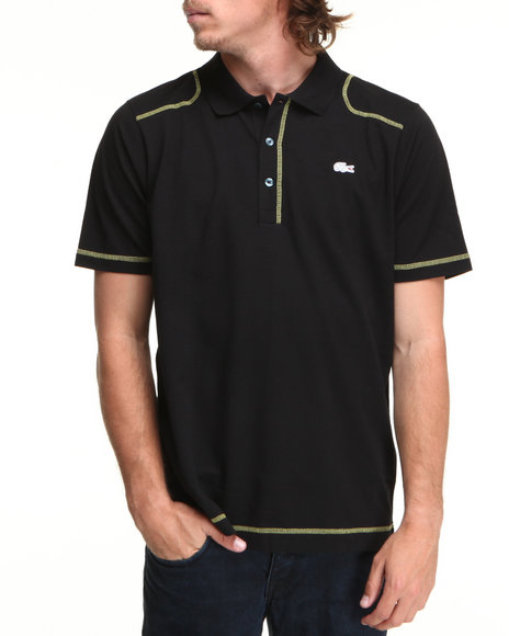Lacoste Men Black S/S Super Light Contrast Stretch Detail Polo