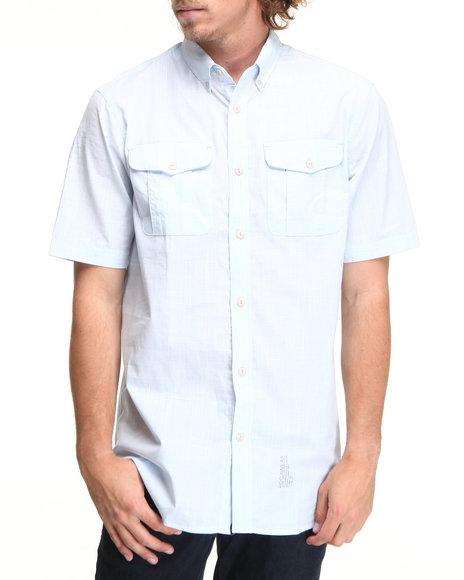 Rocawear Men Light Blue Slub Poplin S/S Button-Down